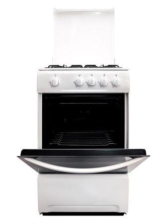 gas cooker: cocina de gas blanco con estufa sobre el fondo blanco de ipen