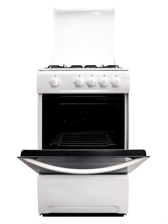 bakeoven: white gas cooker with ipen stove over the white background Stock Photo