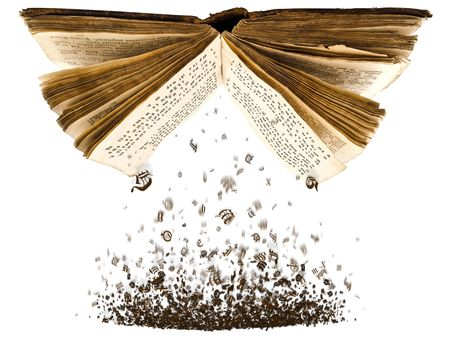 word: open book with spill out characters from it against the white background Stock Photo