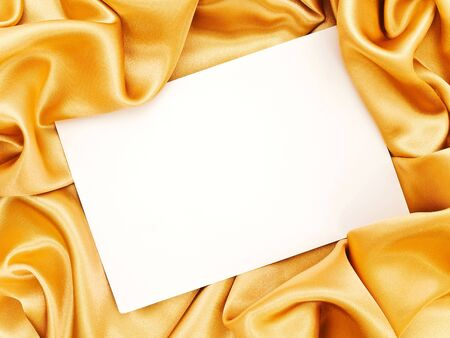 template for invitation card with golden fabric border