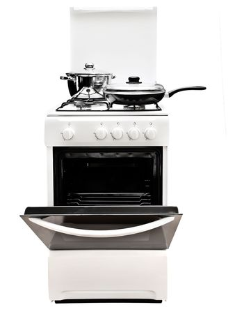 frying pan and pot at the white gas stove over the white background Stock Photo - 5995768