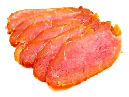 pices: photo of the red tasty smoked meat pices against the white background