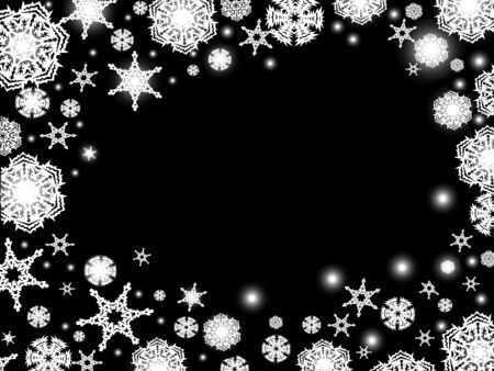 Abstract winter background in black and white with snowflakes