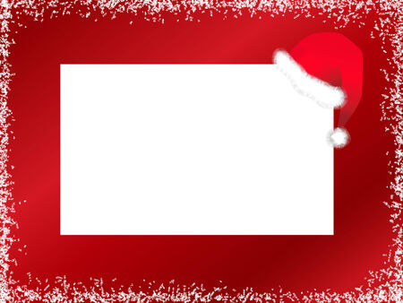 picture card: Illustration of New Year template with Santa hat against red background with snow