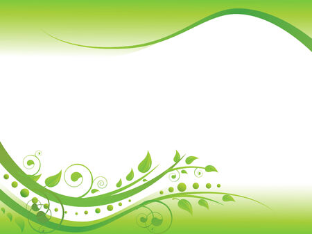 green leaves border: Illustration of floral border in green with copy-space for your text