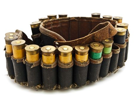 cartridge belt: Photo of old cartridge for hunting rifle against white background