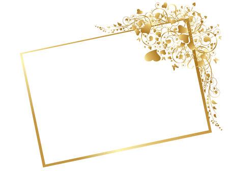 dorato: Illustrazione della cornice dorata floreale con turbinii, butterfly e cuori a sfondo bianco