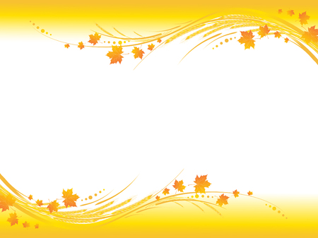 fall harvest: Illustration of horizontal yellow autumn frame, maple leaves  and cereals stems with copy-space for your text