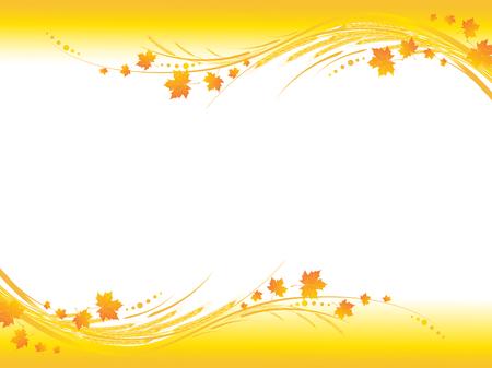 Ilustración de marco horizontal de otoño amarillo, hojas de arce y cereales tallos con copia-espacio para el texto