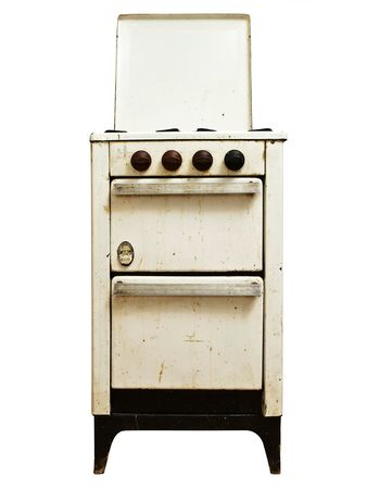 bakeoven: old gas cooker over the white background