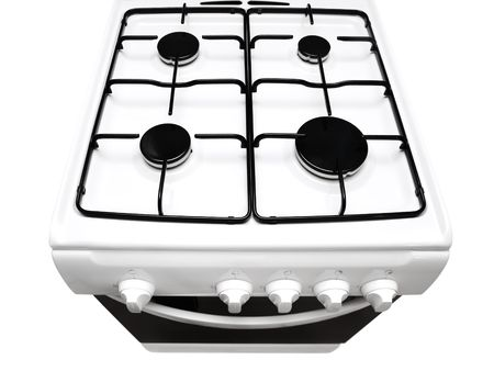 bakeoven: top view of white gas stove with ipen stove over the white background