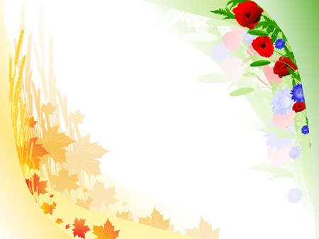 corn poppy: Illustration of autumn summer floral frame with copyspace for your text