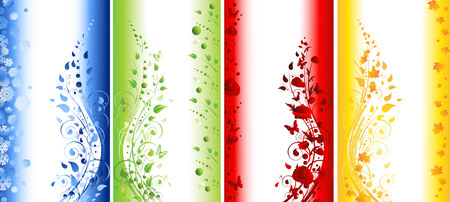 winter wheat: Abstract illustration of four seasons vertical banners. Winter, spring, summer, autumn  Illustration