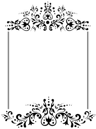 art deco frame: illustration of vintage frame with copyspace in black and white