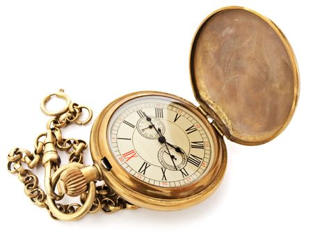against the clock: old opened vintage pocket clock against the white background Stock Photo