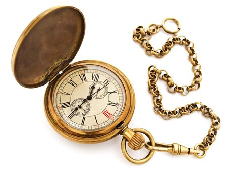 reloj antiguo: Foto del reloj de bolsillo vintage viejo abierto contra el fondo blanco