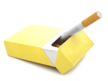 Photo of single cigarette in box against the white background