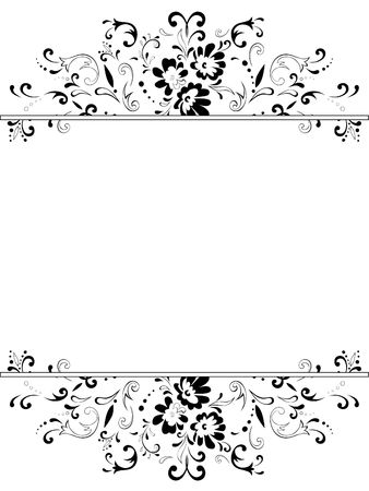 copyspace:   illustration of vertical vintage floral frame in black and white with copyspace  Stock Photo