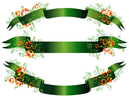 green floral banner set against the white background Stock Vector - 6349897