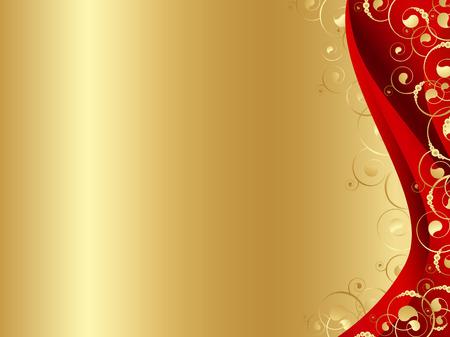 ornate gold frame: Ilustraci�n del fotograma decorado de rojo y oro con espirales y copyspace para el texto