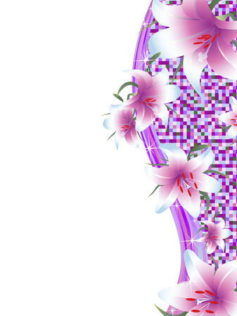 Bright wavy frame with lily and copyspace for your text Vector