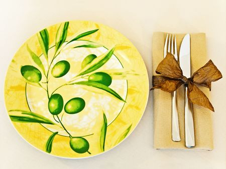 decorated table serving with serviette and knife,fork at beige Stock Photo - 6501470