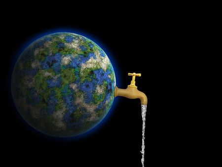 Conceptual image of earth is our water against black background photo