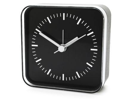 modern black clock against white Stock Photo - 6501418
