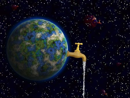 Conceptual image of earth is our water in space photo