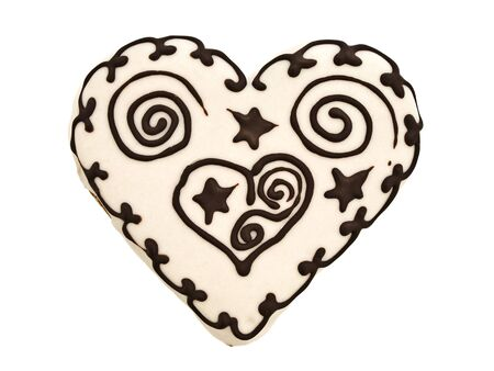 spice cake: Photo of spice cake in heart shape against white background
