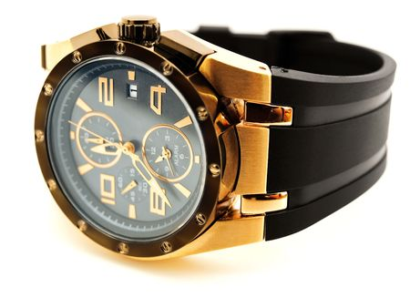 clockwise: luxury golden man watch against white background Stock Photo