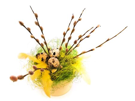 Easter composition with willow and quail eggs photo
