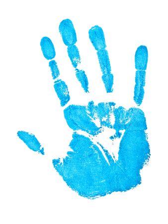 empreinte de main: impression sur le fond blanc bleu main