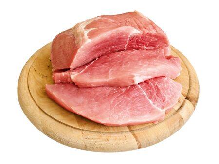 piecies: piecies of meat on the hardboard over white Stock Photo