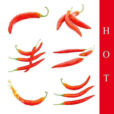 set of different red peppers images over white background photo