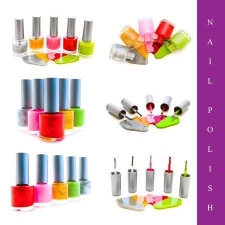 nail polish bottle: set of different nail polish images over white background