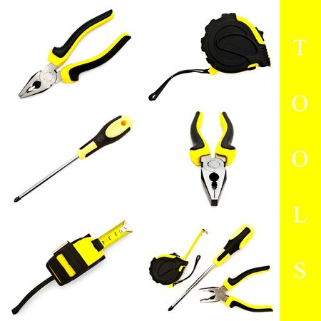 set of different tools over white background photo