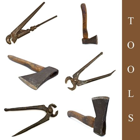 set of different tools images over white background photo