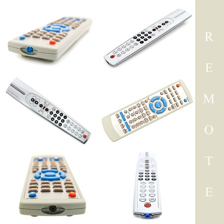 remote controls: set of different remote controls over white background