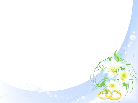 wedding card with rings,bouquet of lilies and diamonds in light blue. Copyspace for your text