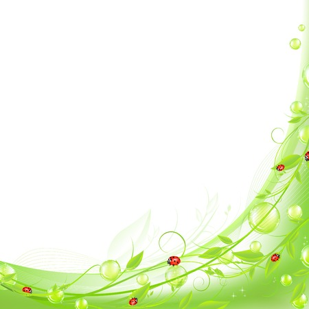 ladybeetle: vital spark scenery frame with green flora and red ladybirds. Copyspace for your text