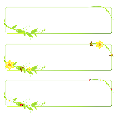 three summer and sring banners with green leaves and flowers