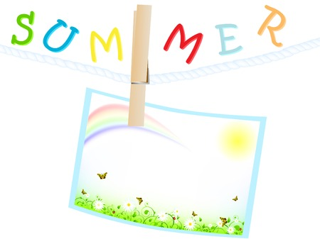 ladyfly: summer frame with green meadow, sun and rainbow at rope