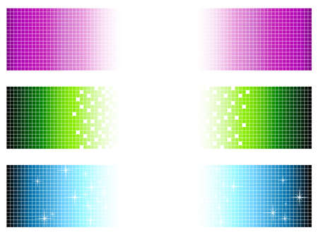 vanishing: set of bright multicolored banners in pixel style with copyspace for your text