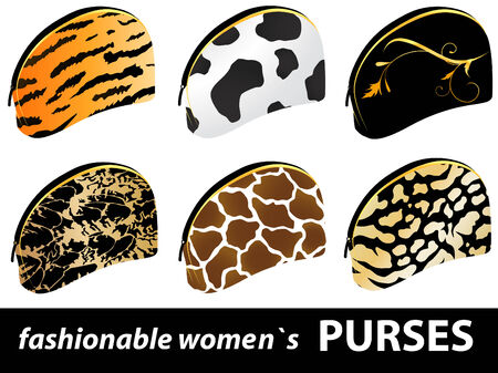 Set of six fashionable textured women`s purses Vector