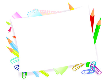 coloring sheets: school supplies with frame for tour text