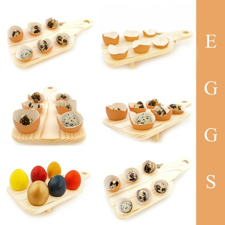 tojáshéj: set of different eggs and egg shell in wooden board over white background