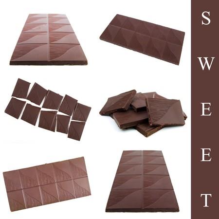 set of sweet chocolate over white background photo