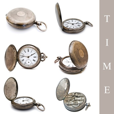 horologe: set of old silver pocket watches over the white background