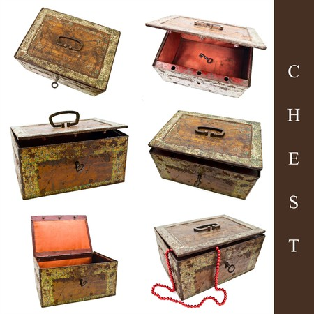 set of six old vintage chests over white background photo